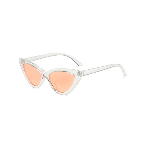 Vintage Retro Fashion (YOSHYA Retro Vintage Narrow Cat Eye Sunglasses for Women Clout Goggles Plastic Frame (Clear Orange))