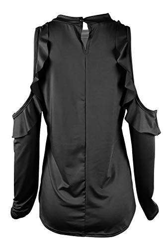 Chemise Shirt Top Asymetrique Uni Femme de Blouse Sexy Chemiser Jumpers en Bateau Mode Col T Couleur Tunique Haut Manche Volant Casual Sweatshirt Chic Ete Pull Shirt Lace C Epaule a Courte Noir Denudee rA1x1Z