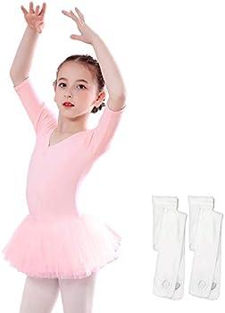 Sinuo Girls Ballet Tutu Leotard w/2-Pair Ballet Tight (Age 2-8)