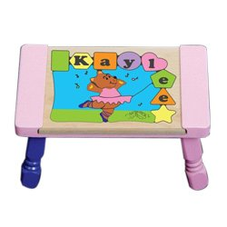 babykidsbargains Personalized Ballerina Puzzle Stool - Color: Pink Stool Top with Multi Pastel Legs