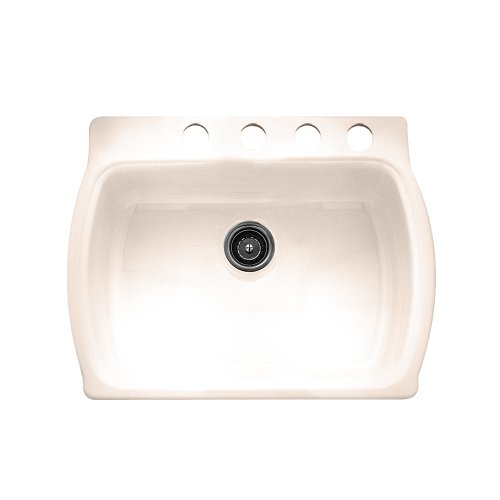 American Standard 7162.804.021 Chandler Americast Single Bowl Kitchen Sink  With Self Rimming/Undercounter 4 Holes, Bone     Amazon.com