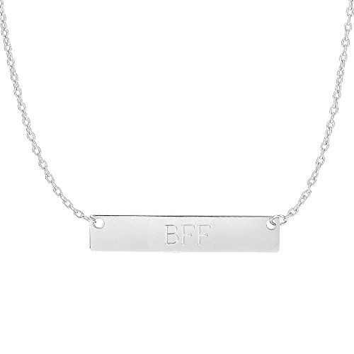 Ritastephens 14k White Gold Bar Pendant Name Plate with Front Engraving Adjustable Necklace 16 to 18 (White Gold Name Necklace)