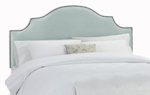 Skyline Furniture Velvet King Notched Nail Button Headboard, Pool - Upholstered Headboard Velvet Pool
