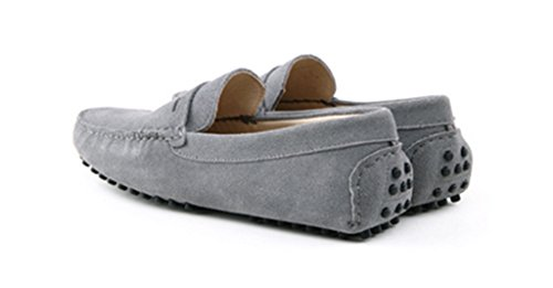 Crc Mens Mode Casual Confort Slip Sur Suede Cuir Marche Conduite Bateau Formation Doug Chaussures Gris