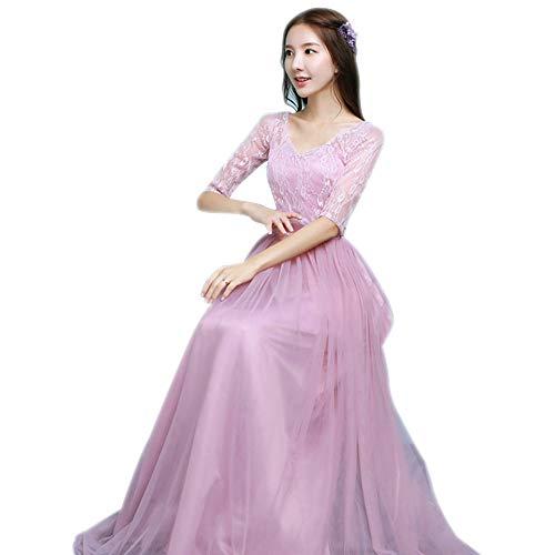 d945d9cf4fff Vestito DonnaSottile Sera Abito 3 stile Principessa Festa Dazisen Da a  D onore Tulle Rosa Damigella Lungo Elegante HYW9IDE2