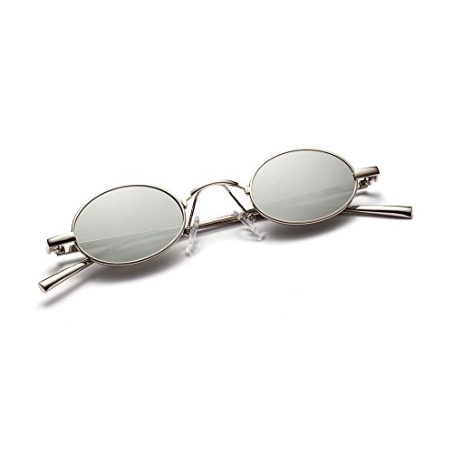 ROYAL GIRL Vintage Retro Oval Sunglasses Small Metal Frame Steampunk Glasses (Silver - Mirrored Sunglasses Oval