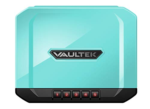 Vaultek Essential Series Quick Access Portable Safe Auto Open Lid Quick-Release Security Cable Rechargeable Lithium-ion Battery (VE10 (Luxe Blue Sub-Compact Safe))