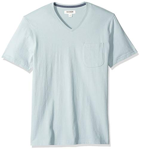 Goodthreads Men's Short-Sleeve Sueded Jersey V-Neck Pocket T-Shirt, Light Aqua, - Neck Big V Mens Clothing And Tall