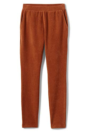 Lands' End Women's Plus Size Sport Knit Corduroy Leggings, 1X, Burnt -