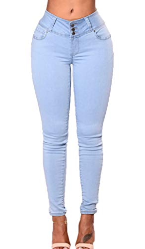 Pantalone Matita Pants Moda Casual Jeans Donna Azzurro Pantaloni Lungo Skinny Onlyoustyle 8q1pT