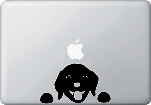 Dog Puppy Labrador Peeking Decal Vinyl Sticker|MacBook Laptop Computer Cars Trucks Vans Walls| BLACK |6.5 x 3.5 in|CCI857
