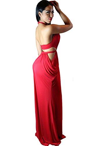 Elegante dama rojo Draped cuello noche vestido de cóctel Prom Party Dance Club wear tamaño 12
