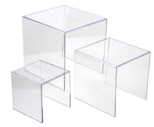 - Ifavor123 Clear Acrylic Riser Set - 3 Display Stand Risers (1 set 3