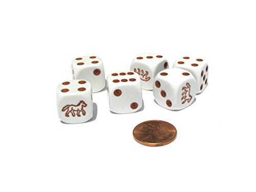 Set of 6 Horse 16mm D6 Round Edged Koplow Animal Dice - White with Brown Pips (Horse Dice)