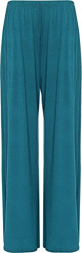 Plus Size Womens Plain Palazzo Wide Leg Flared Ladies Trousers Pants Sizes 8-26 20 Ladies Trouser