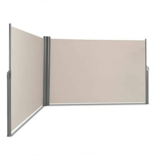 Garden and Outdoor Tangkula Outdoor Patio Retractable Folding Side Screen Awning Waterproof Sun Shade Wind Screen Privacy Divider (237″ x 71″, Beige) patio awnings