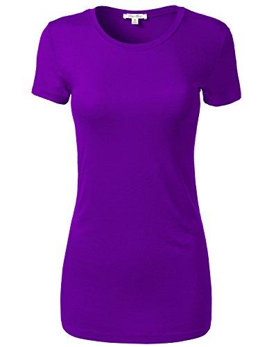 Slim Short Sleeve Deep Round Neck T-Shirt Tops
