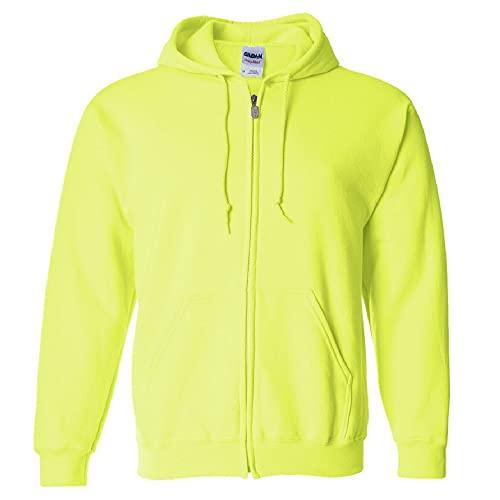 Sudadera Gildan con capucha y cremallera para hombre, estilo G18600, verde de seguridad, mediana