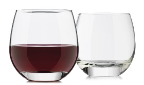 Libbey 4-Piece Alyse Stemless Heavy Base Red Wine Glass, 15-Ounce, (Libbey Red Wine Glass)