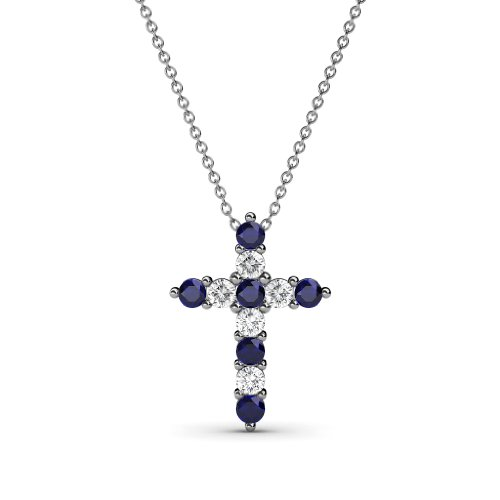 Petite Blue Sapphire & Diamond Cross Pendant 0.34 cttw in 14K White Gold with 14K Gold Chain by TriJewels