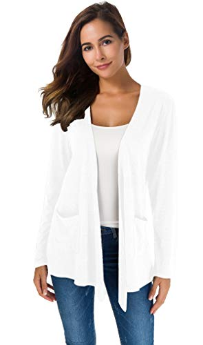 (Women's Loose Casual Long Sleeved Open Front Breathable Cardigans with Pocket (White1, S) )