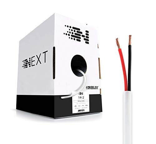 Next 14/2 Speaker Wire - 14 AWG/Gauge 2 Conductor - UL Listed In Wall (CL2/CL3) and Outdoor/In Ground (Direct Burial) Rated - Oxygen-Free Copper (OFC) - 500 Foot Bulk Cable Pull Box - White