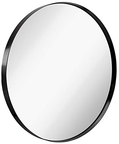 Hamilton Hills Contemporary Brushed Metal Black Wall Mirror | Glass Panel Black Framed Rounded Circle Deep Set Design (35