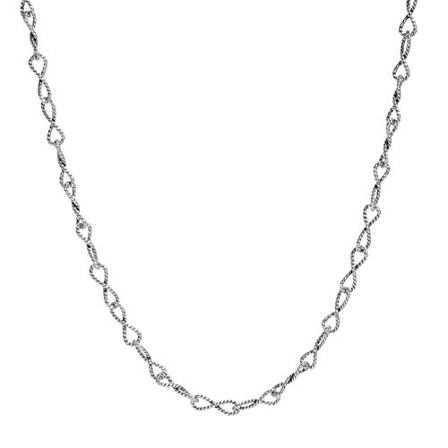 American West Sterling Silver Infinity Twisted Link Chain Necklace 24 Inch