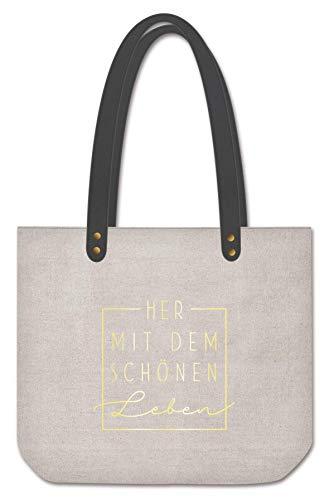 Grafik-Werkstatt Shopper Damen | Tasche | Shopping-Bag | Leinen | grau-gold | Her mit dem schönen Leben