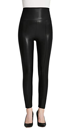a9c2b7765bc44 Everbellus High Waisted Faux Leather Leggings for Women Sexy Black Leather  Pants