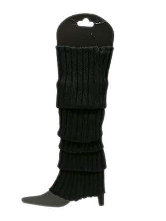 Neon Fluro Leg Warmers Knitted Socks - Black