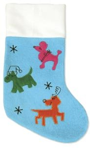 Plush Puppues Christmas Stocking sm blue