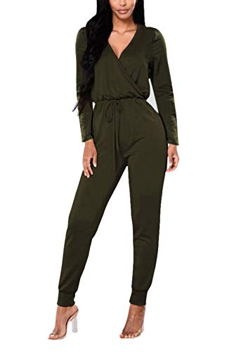 Fixmatti Women Long Sleeve V Neck 1PC Drawstring Jumpsuit Outfit Army Green S