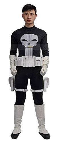 [Mtxc Men's The Amazing Spider-Man Cosplay Costume Punisher Frank Castle Full Set Size XX-Small] (Punisher Cosplay Costume)