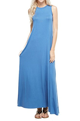 Pastel by Vivienne Women's Sleeveless Maxi Dress with Pockets Large Denim