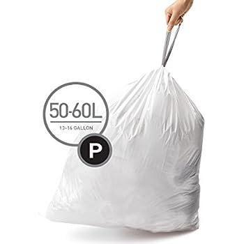 simplehuman Code P Custom Fit Trash Can Liner, 3 refill packs (60 Count), 50-60 Liter / 13-16 Gallon