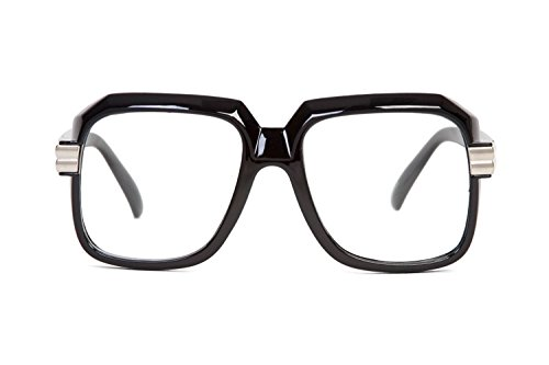Gafas de Hip Hop Rapper Retro, lentes grandes y transparentes, negras