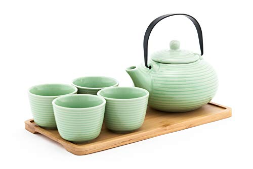(Fuji Merchandise Ceramic Teapot with Stainless Steel Infuser and Metal Handle 26 fl ounce and Four Tea Cups with Bamboo Serving Tray Tea Set (Green Spiral))