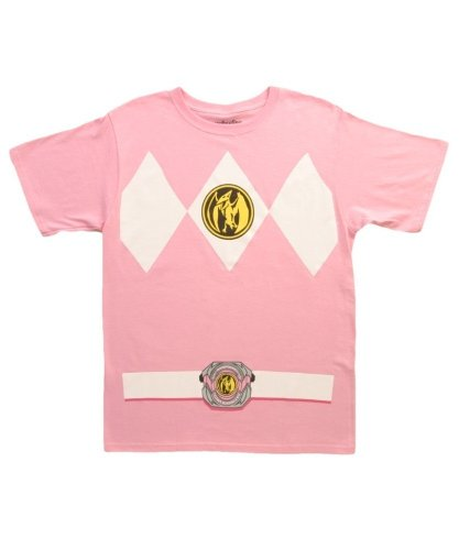 Mighty Morphin' Power Rangers Costume Adult T-shirts (Medium, Pink)