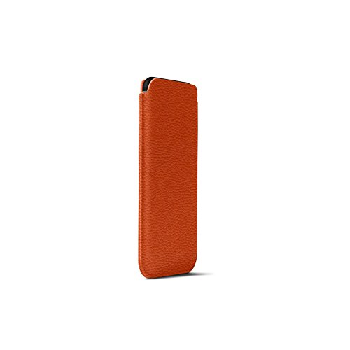Latest Lucrin - Leather Case with Pull Tab Compatible with iPhone XR and Wireless Charging - Orange - Granulated Leather orange iphone xr case 5