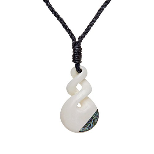's Men's Hand Carved Bone Maori Tribal Double Twist Paua Shell Pendant Necklace (Double Shell Pendant Necklace)