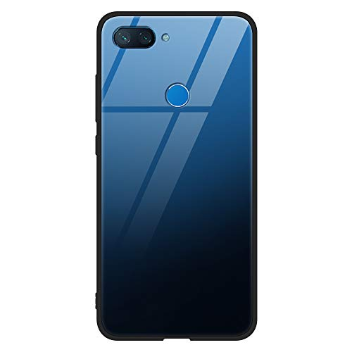 Eouine Xiaomi Mi 8 Lite Case, [Anti-Scratch] Shockproof Patterned Tempered Glass Back Cover Case with Soft Silicone Bumper for Xiaomi Mi 8 Lite Smartphone (Blue)