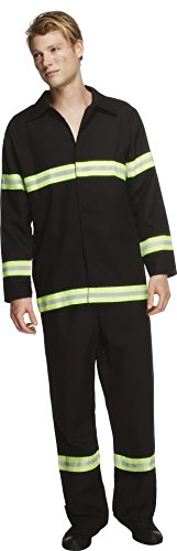 Smiffy's Men's Fever Fireman Costume, Jacket and pants, Uniforms, Fever, Size L, 31693