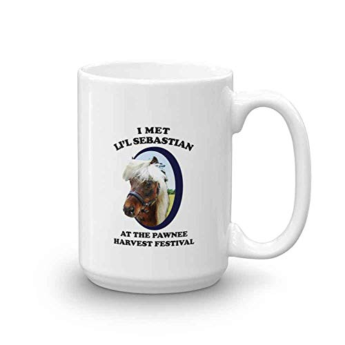 Parks And Recreation Li'l Sebastian Pawnee Harvest Festival Ceramic Mug, White - Official Coffee Mug (15 oz.)