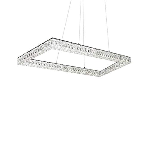 Aircraft Cable Suspended Pendant with Single Rectangular Ring of Diamond Cut Clear Crystal Glass and Rectangular Chrome Canopy