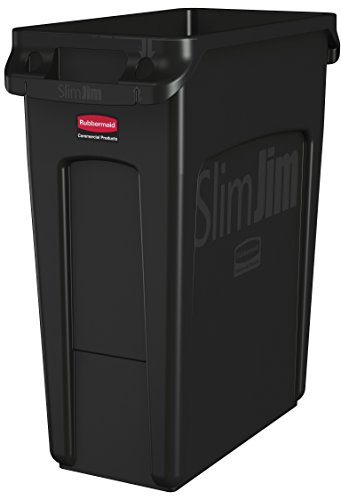 Rubbermaid Commercial Vented Slim Jim Trash Can Waste Receptacle, 16 Gallon, Black, Plastic, - Rubbermaid Trash Commercial Cans