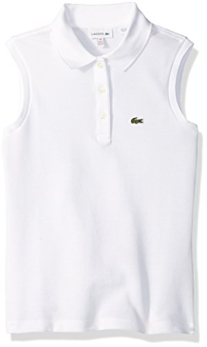 Lacoste Big Girls' Sleeveless Pique Polo, White, - Solid Polos Pique Girls