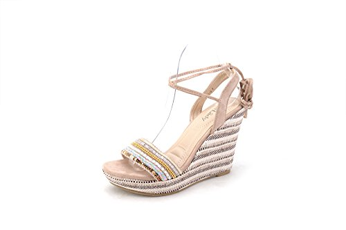 Ankle Wrap Wedge (Mila Lady Platform Ankle-Wrap Wedge Sandal (Lisa-6) Nude 5.5)