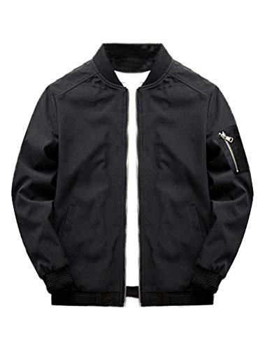 (Lavnis Men's Lightweight Softshell Coat Sportwear Zipper Windbreaker Flight Bomber Jacket Black)