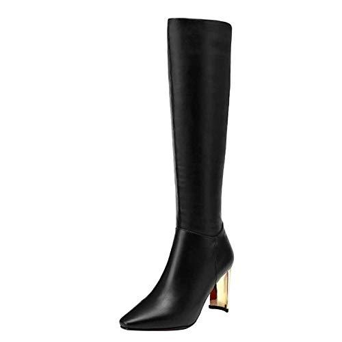 En Du Miss Bottes Li Au Haute Bottines Chaussure Cuir Faux D'hiver Élastiqué Dames Black dessus Genou rggzIxncqw